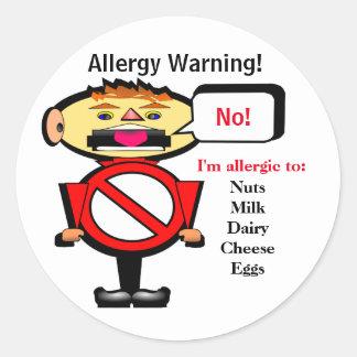 アレルギーの注意深い警告表示 ラウンドシール
