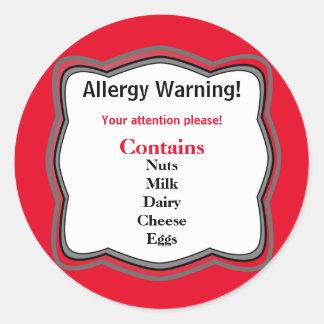 アレルギーの警告表示 ラウンドシール