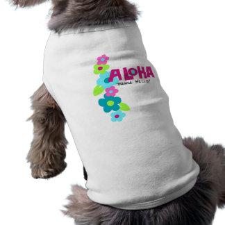 アロハこんにちは小犬のTシャツを意味します ペット服