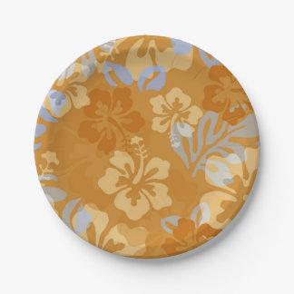 アロハオレンジおよび青のハイビスカスの花のモチーフ ペーパープレート