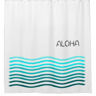 アロハグラデーションな波 シャワーカーテン