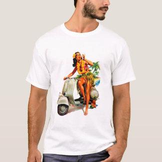 アロハスクーターの女の子 Tシャツ