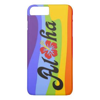 アロハハイビスカス-ハワイの平らなデザイン + あなたのアイディア iPhone 7 PLUSケース