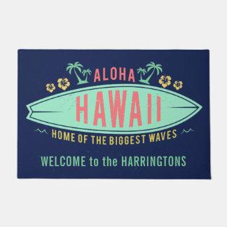 アロハハワイのサーファーの名前をカスタムするのドア・マット ドアマット