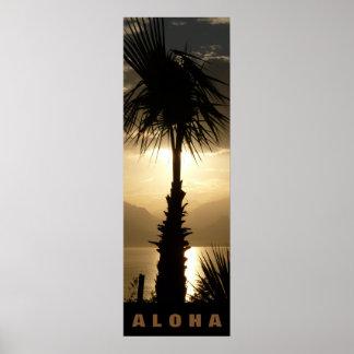 アロハハワイのヤシの木の熱帯地方の日没旅行 ポスター