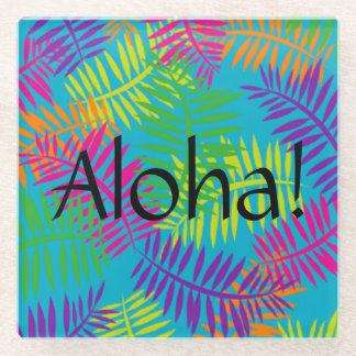 アロハハワイの織物のカラフルなガラスコースター ガラスコースター