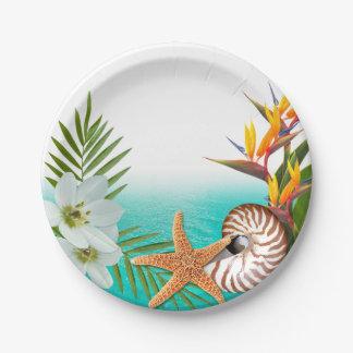 アロハビーチのプルメリアのFrangipaniのオウムガイ ペーパープレート