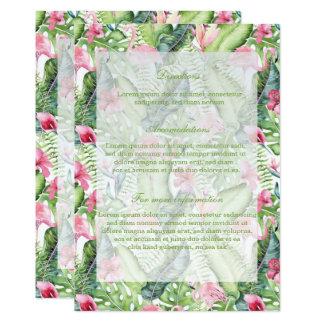 アロハフラミンゴの熱帯ビーチ結婚式 12.7 X 17.8 インビテーションカード