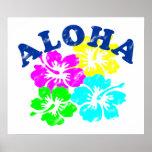 アロハヴィンテージポスターカラフルなハワイの花 ポスター