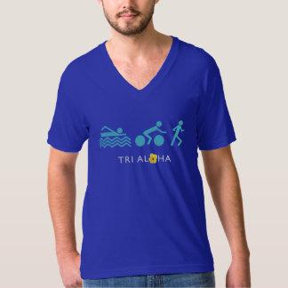 アロハ人の素晴らしいジャージーのV首-暗闇と三 Tシャツ