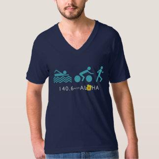 アロハ人の素晴らしいジャージーV首Dkとの140.6+Bk Tシャツ