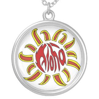 アロハ太陽のネックレス シルバープレートネックレス