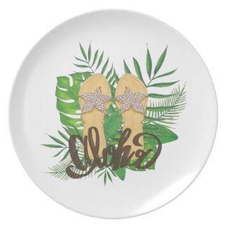 アロハ手描きの手の絵画のシュロの葉 プレート