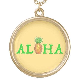 アロハ熱帯ハワイのハワイのパイナップルネックレス ゴールドプレートネックレス