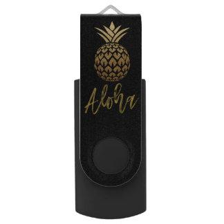 アロハ熱帯パイナップル黒の金ゴールドホイルUSBドライブ USBフラッシュドライブ