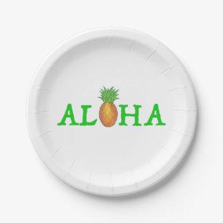 アロハ熱帯島のハワイのパイナップルプレート ペーパープレート