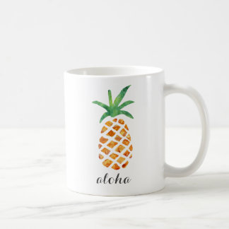 アロハ熱帯水彩画のパイナップル コーヒーマグカップ
