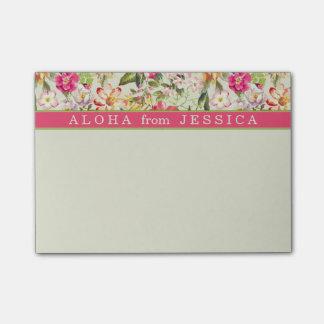 アロハ熱帯花のピンクおよびライムの習慣 ポストイット