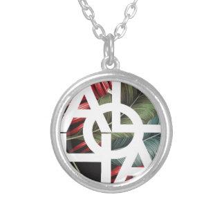 アロハ白い四角の赤のやし シルバープレートネックレス