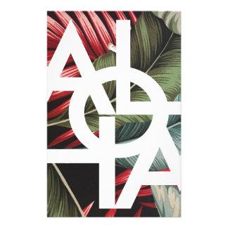 アロハ白い四角の赤のやし 便箋