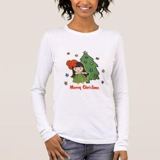 アロハ蜂蜜のクリスマスのハワイのフラ女の子 Tシャツ