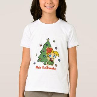 アロハ蜂蜜のクリスマスのブロンドのフラ女の子 Tシャツ