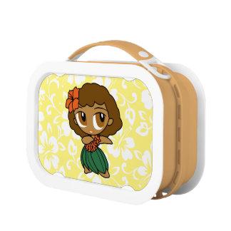アロハ蜂蜜のハワイアンのPareoのフラ女の子のお弁当箱 ランチボックス