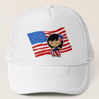 アロハ蜂蜜米国の旗のフラ女の子の帽子 キャップ