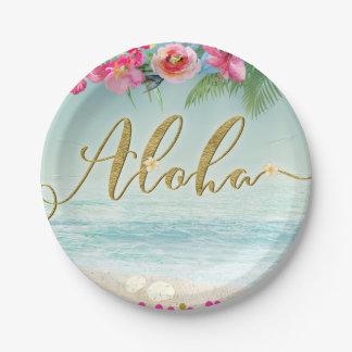 アロハ金ゴールドの熱帯ビーチのハイビスカスによっては花柄が開花します ペーパープレート