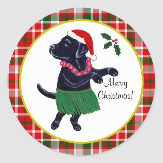 アロハ黒いラブラドールのクリスマスのサンタの帽子のタータンチェック ラウンドシール