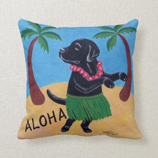 アロハ黒いラブラドールの枕 クッション