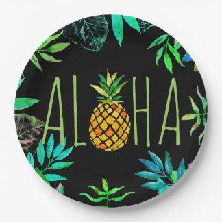 アロハ黒の熱帯パイナップル ペーパープレート