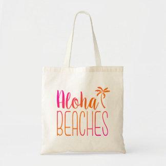 アロハ|のピンクおよびオレンジトートバックを浜に引き上げます トートバッグ