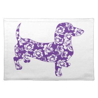 アロハDoxieの紫色のダックスフント ランチョンマット