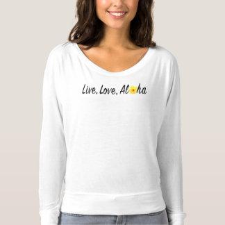 、アロハFlowyの長袖のTシャツは住んでいましたり、愛します Tシャツ