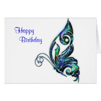 アワビの貝のアールデコの蝶誕生日 カード