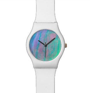 アワビの貝の水彩画の真珠母の石 腕時計