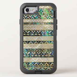 アワビの貝の真珠の種族の民族パターン金ゴールド オッターボックスディフェンダーiPhone 8/7 ケース