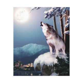 アンカレッジのスカイラインの遠ぼえのオオカミ キャンバスプリント