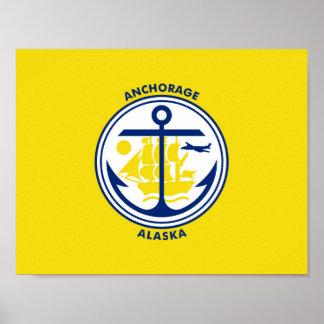 アンカレッジ都市アラスカの旗米国アメリカs ポスター