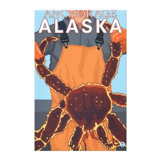 アンカレッジ、アラスカ-タラバガニ漁師 キャンバスプリント