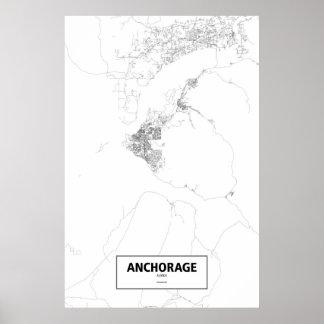 アンカレッジ、アラスカ(白の黒) ポスター