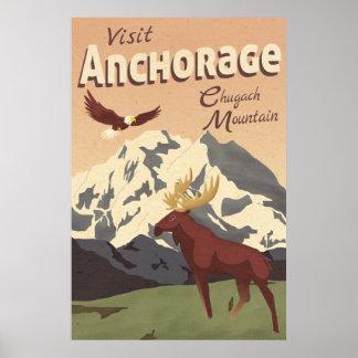 アンカレッジChugach山のヴィンテージ旅行ポスター ポスター