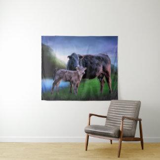 アンガスの黒い牛および子牛 タペストリー