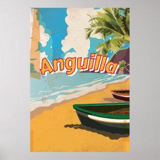 アングィラのヴィンテージの休暇ポスター ポスター