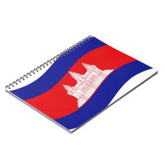 アンコール・ワットのカンボジアの旗の波 ノートブック