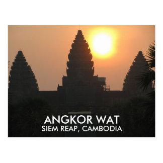 アンコール・ワットの寺院の日の出シェムリアップカンボジアアジア ポストカード