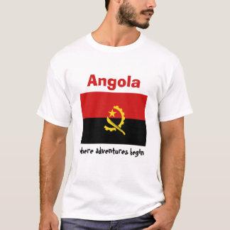 アンゴラの旗 + 地図 + 文字のTシャツ Tシャツ