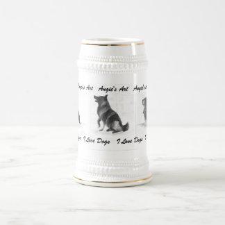 """アンジーの芸術""""私は愛します犬""""を ビールジョッキ"""