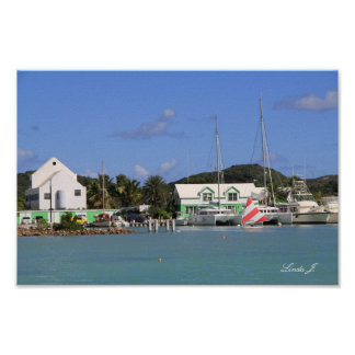 アンチグアのキャンバスのプリントの港そしてヨット ポスター